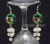 SALE 6-7mm Round White Natural Pearl & 18mm Dark green Cloisonne earring-ear550