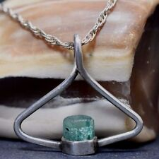 Emerald Crystal form Muzo Columbia pendant set in Sterling siliver