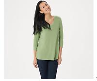 H by Halston Essentials 3/4-Sleeve Top with Shirttail Hem Aloe Vera Large