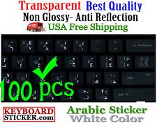 Arabic Keyboard Sticker white letters Transparent Reseller 100 Pack DEAL!!
