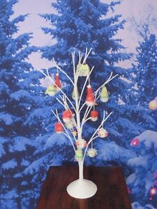 Snow Covered White Metal Snowman Tabletop Christmas Ornament Twig Tree Display