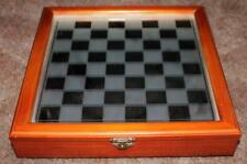 Vintage Mirror Top Wood Case Chess Board w/ Clear & Frosted Glass Playing Pieces
