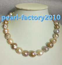 """baroque 18"""" AAA 14-12MM SOUTH SEA NATURAL multicolor PEARL NECKLACE 14K  CLASP"""