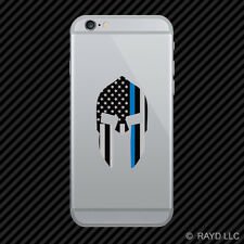 Thin Blue Line Subdued Spartan Helmet American Flag Cell Phone Sticker Mobile