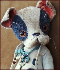 Alla Bears artist Old Antique Puppy Teddy Bear art doll Ooak boy pet decor toy