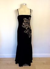 COAST BLACK & GOLD EMBROIDERED SILK STRAPLESS/ STRAPPY LONG DRESS SIZE 12