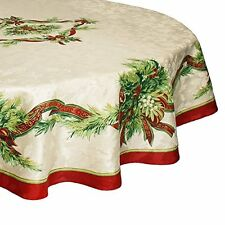 Benson Mills Christmas Ribbons Engineered Printed Fabric Tablecloth, 70 Inch