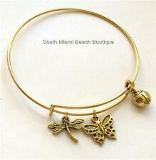 Gold Ladybug Dragonfly Butterfly Charm Bracelet Adjustable Wire Insect Plated