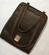 Vintage 1930's Brown Leather Framed Purse w/ Mirror-Estate
