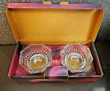 Elegance Crystal Candle Holder Clear Set of 2 Nib 2.5 Inches Diameter