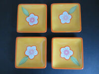 Crate and Barrel - Orange Floral - Square Appetizer/Dessert Plates - Lot of 4
