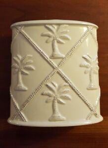 "Tommy Bahama Sandy Palms Toothbrush Holder Tan Porcelain Palm Tree 4.5 x 4.25"""