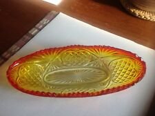 Vintage Depression Glass Amberina Oval Bowl or Dish Sow Tooth Rim