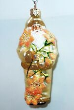"2001 Patricia Breen Santa For Avril Gold Orange Lilies 5""H Elegant Ornament Gift"