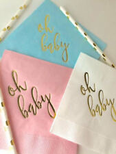 Baby Shower Napkins with Metallic Gold Foil Oh Baby Ships Immediately 3 Colors