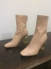 Size 5 Public Desire CHLOE pink Nude Faux Leather PVC Perspex Ankle Boots Heels