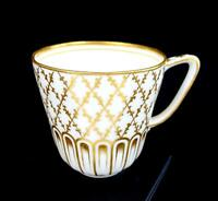 "ENGLISH ANTIQUE PORCELAIN HEAVY GOLD DIAMOND LATTICE 2 3/4"" CUP ONLY 1780-1850"