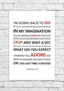 Arctic Monkeys - 505 - Song Lyric Art Poster - A4 Size