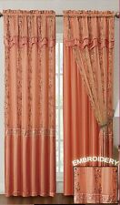 "Orange Window Curtain Drapery Panel w/ Attached Backing and Valance 57""x90"""