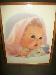 Ivory Snow Detergent Baby Framed Print ~ Pink Blanket w/ Blue Capped Teddy Bear