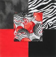 "30 6"" Zebra stripe CHRISTMAS ORNAMENTS Black Red Gray Quilt Fabric Squares"