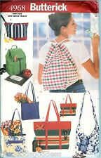 Butterick 4968 TOTE BAGS Grocery Bookbag Beach Knap Sewing Pattern UNCUT Craft
