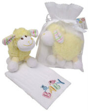 Newborn Baby Friends White Cotton Baby Embroidered Face Washer & Soft Toy Set