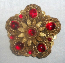 Vintage 1950's era Gold-Toned Filigree with Red Cabochons Brooch