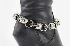 Women Boot Chain Bracelet Shoe Charm Jewelry Silver Punk Rock Skulls Biker Style