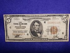 1929 $5 Dollar National Currency The Federal Reserve of Philadelphia - VG