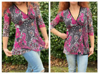 SWEET PEA STACY FRATI MESH MOD  FLORAL PAISLEY WRAP TUNIC TOP BLOUSE M FITS S