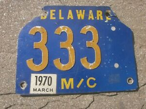 AMERICAN DELAWARE MARCH 1970 VINTAGE MOTORCYCLE # 333? RARE NUMBER PLATE