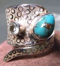 Turquoise Not Enhanced Topaz Sterling Silver Fine Rings