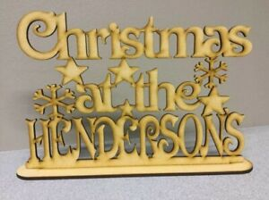 Laser cut Mdf, Christmas at the surname with stand