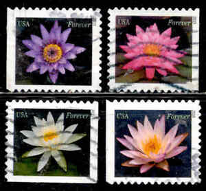 WATER LILIES Stamps # 4964-67 Flowers 49 Cent Set US Used