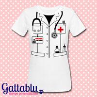T-shirt donna Camice dottore PERSONALIZZATA CON NOME Carnevale o Laurea medicina