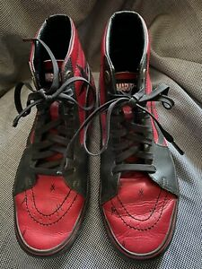 Vans SK8 Hi Marvel Deadpool Red Leather Skate Shoes Sneakers MENS 10