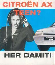 Citroen AX Teen Prospekt brochure Autoprospekt Auto Pkw Personenwagen Frankreich