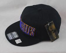 LOGA Embroidered Los Angeles LA Black Baseball Tonal Snapback Flat Peak Hat