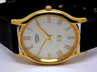 seiko quartz super slim mens gold plated silver dial japan made watch run order