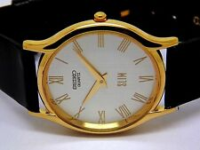 seiko quartz super slim mens gold plated silver dial japan made watch run order