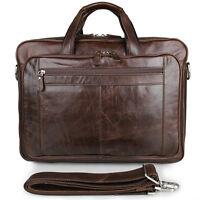"Leather 17"" Laptop Bag Mens Genuine Cowhide Briefcase Business Handbags Large"