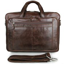 "Leather 17"" Laptop Bag Mens Genuine Cowhide Briefcase Business Handbags Large"