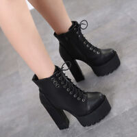 Women's New High-heel Platform Lace-up Ankle Boots Chunky Fleece Lined Casual