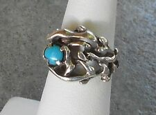 Vintage Turquoise Sterling Silver Ring ~ Signed JP Jason & Pearl ~ Size 5 Navajo
