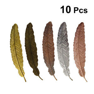 10pcs Feather Metal Bookmark Book Markers Bookmark Decor for School