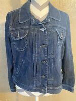 Womens Blue Denium Jean Jacket Pockets Size large Collared Long Sleeve