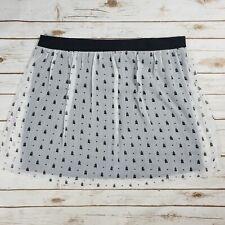 57e293446a Maurices White Black Bird Heart Print Textured Sheer Overlay Stretch Skirt  XL