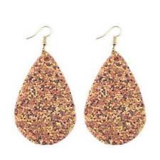 11 Colors New Glitter Sequins Teardrop PU Leather Bohemia Dangle Drop Earrings