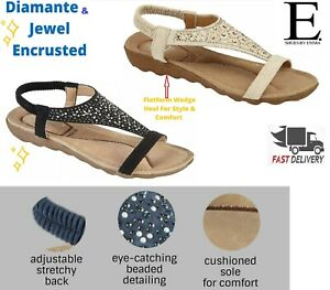 Women Ladies Low Wedge Sandals Flat Diamante Sling Back Summer Holiday Shoes 3-8